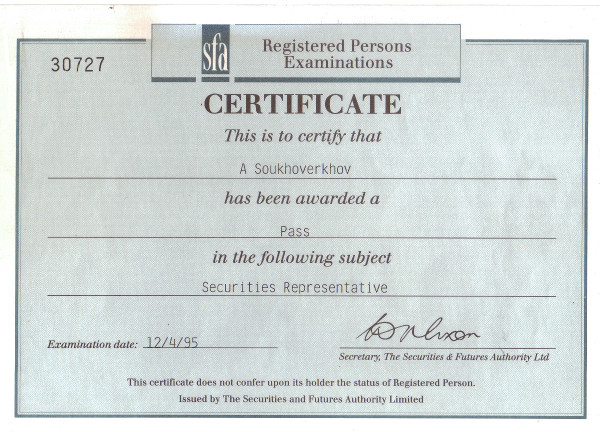 Дипломы и сертификаты Алексей Суховерхов писатель и журналист sfa сертификат ценные бумаги в Великобритании